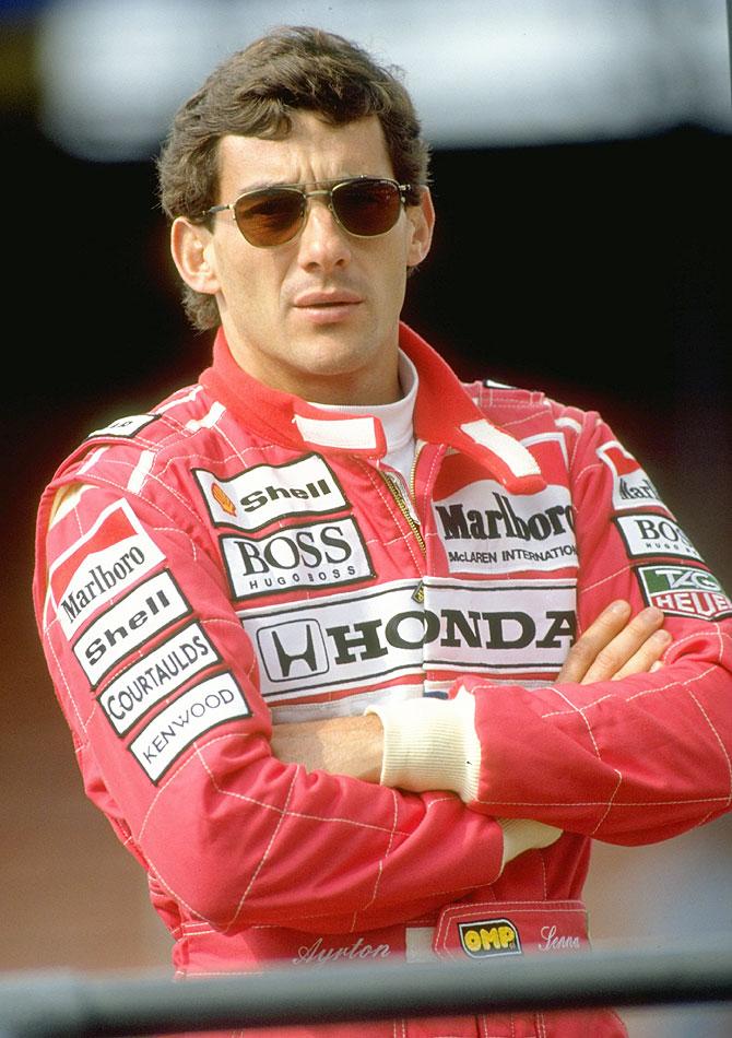 Portrait of McLaren Honda driver Ayrton Senna of Brazil