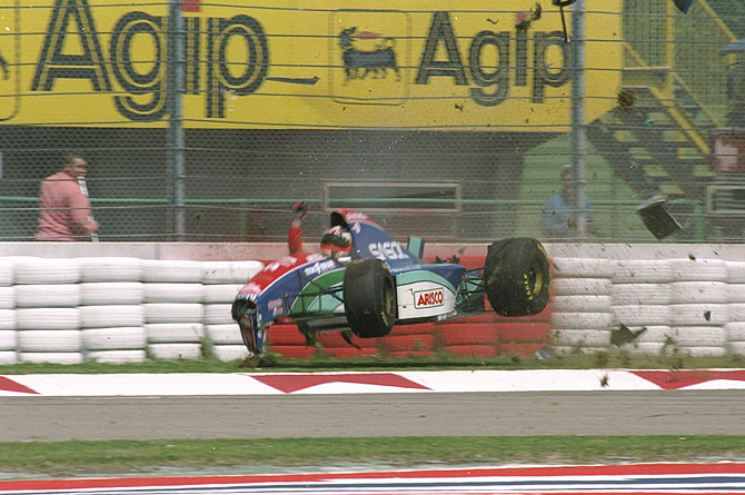 Rubens Barrichello of Brazil crashes at 160 mph in his Jordan Hart during the first official practice for the San Marino Grand Prix at the Imola circuit in San Marino on May 1, 1994