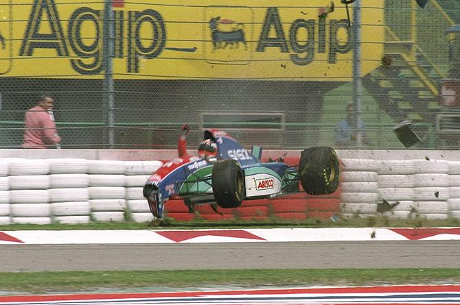 Rubens Barrichello of Brazil crashe