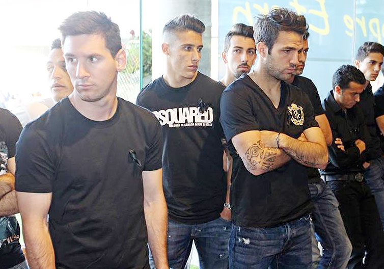 FC Barcelona's Lionel Messi and Cesc Fabregas (right) at a memorial service for former coach Tito Vilanova on Saturday
