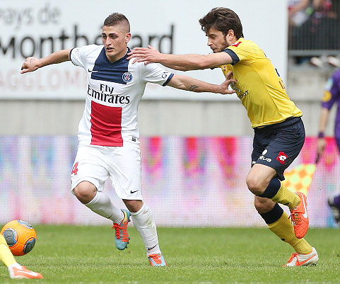 Marco Verratti of PSG and Sanjin Prcic of Sochaux vie for possession during their match on Sunday