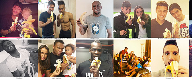 A collage of footballers from around the world as they show their support to Dani Alves and oppose racism