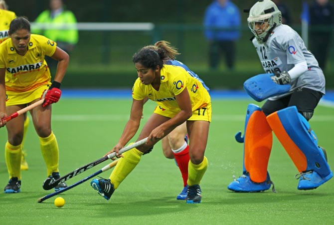 The Indian women's hockey team in action against Scotland in the Champions Challenge