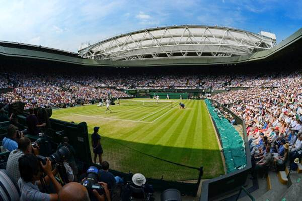 A general view of Centre Court at the All England Lawn Tennis and Croquet Club.