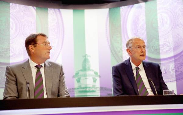 Philip Brook, chairman of the All England Lawn Tennis & Croquet Club, and Chief Executive Richard Lewis talk to the media during the annual spring press conference at Wimbledon on April 29
