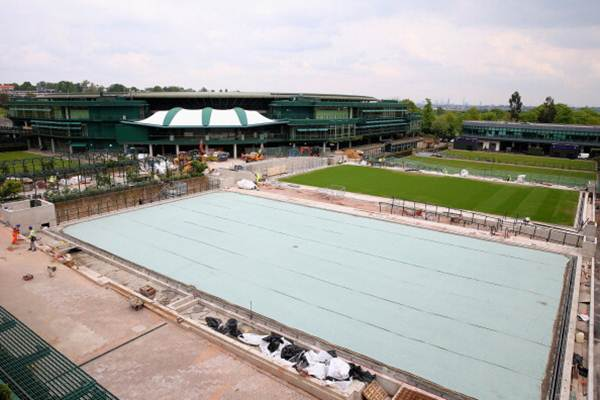 A general view of current building work on and around court 14 photographed after the annual spring press conference at Wimbledon on April 29
