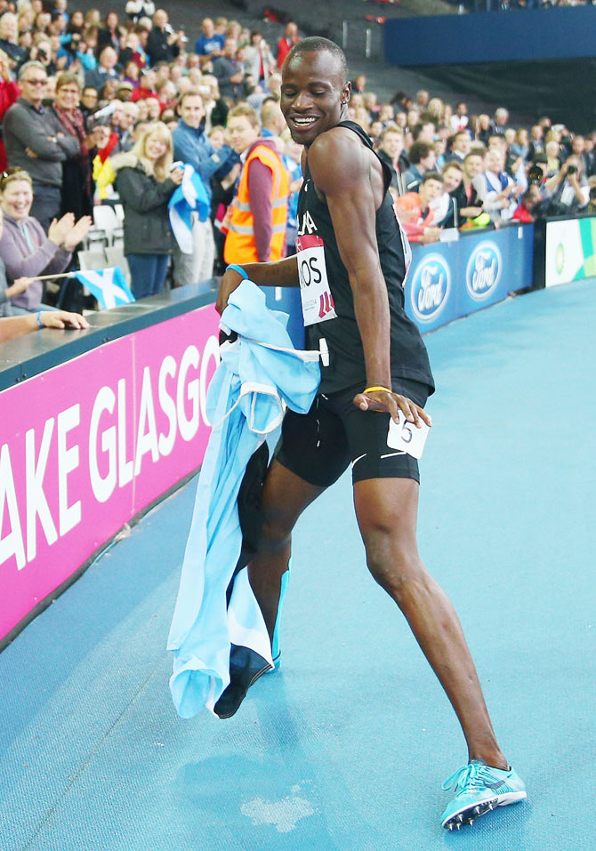 Nijel Amos of Botswana celebrates winning gold in the Men's 800 metres final on Thursday