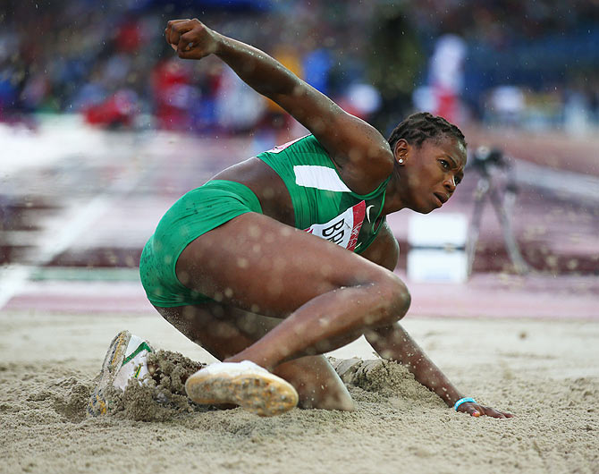 Ese Brume of Nigeria competes in the Women's Long Jump final at Hampden Park on Thursday