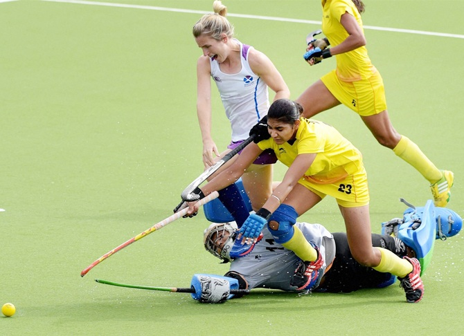 India women in action against Scotland
