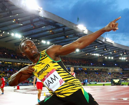 Usain Bolt of Jamaica celebrates winning gold in the men's 4x100 metres relay