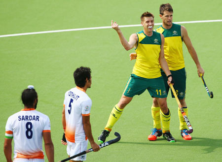 Eddie Ockenden celebrates Australia's winning goal against India at the Commonwealth Games on Sunday