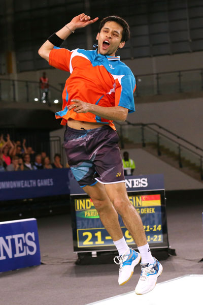 Parupalli Kashyap of India celebrates winning gold in the Men's Singles
