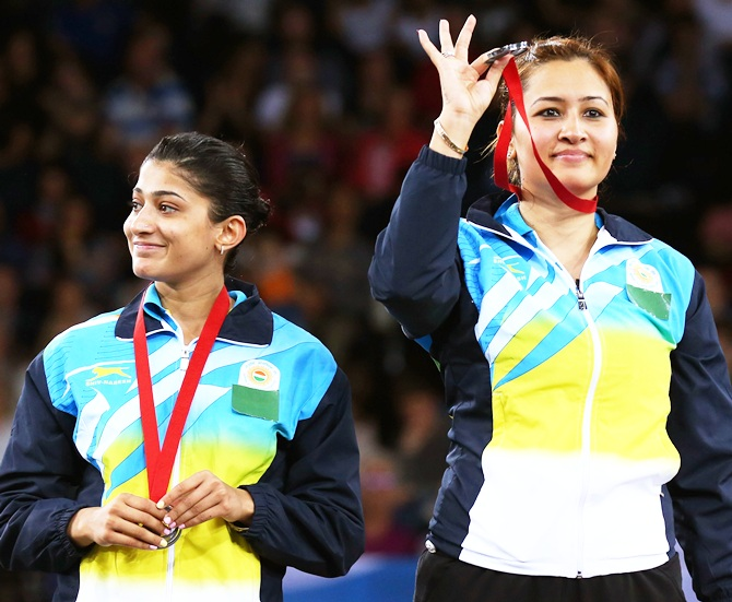 Silver medalists Ashwini Ponnappa and Jwala Gutta during the medal ceremony