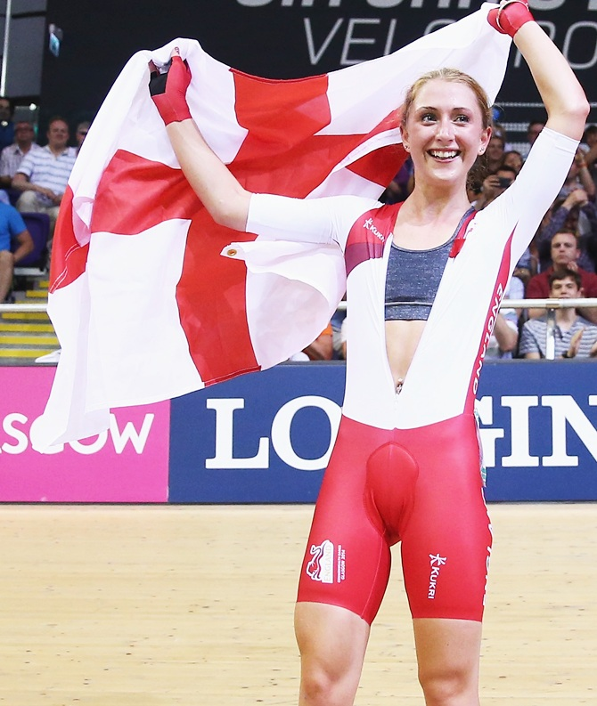 Laura Trott of England celebrates after winning the Women's 25km Points Race   Final at Sir Chris Hoy Velodrome during day four of the Glasgow 2014 Commonwealth Games
