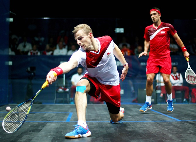Nick Matthew of England plays a forehand