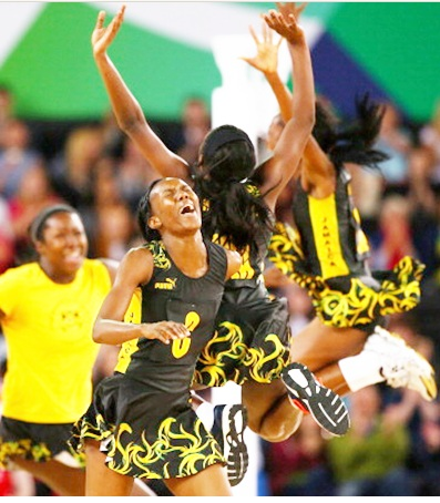 The Jamaica team celebrate victory during the Netball Bronze Medal Match between England and Jamaica at SECC Precinct during day eleven of the Glasgow 2014 Commonwealth Games