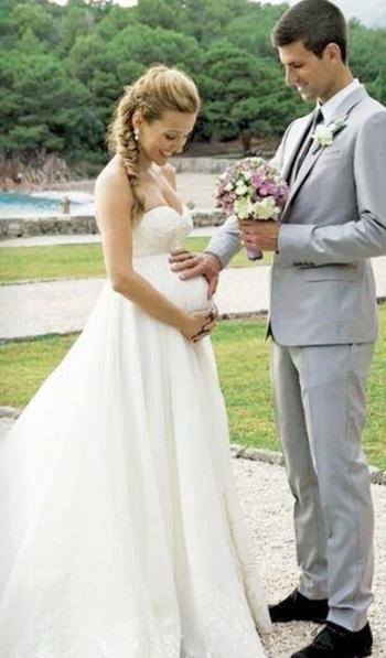 Novak Djokovic with his wife Jelena