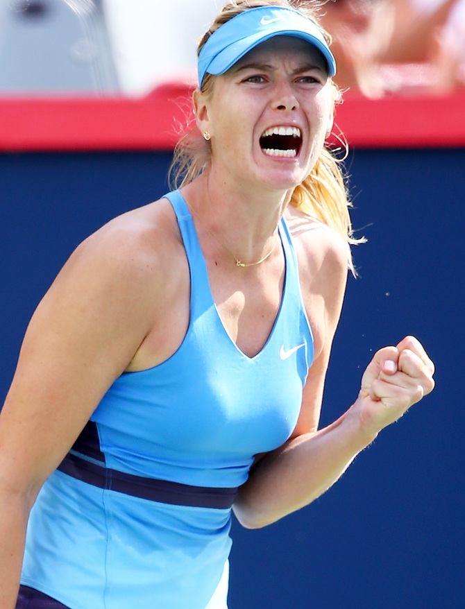 Maria Sharapova of Russia reacts