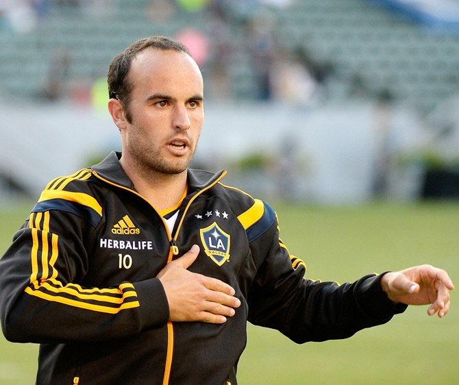 Landon Donovan of Los Angeles Galaxy reacts to his supporters after a 4-1 win over the Philadelphia Union