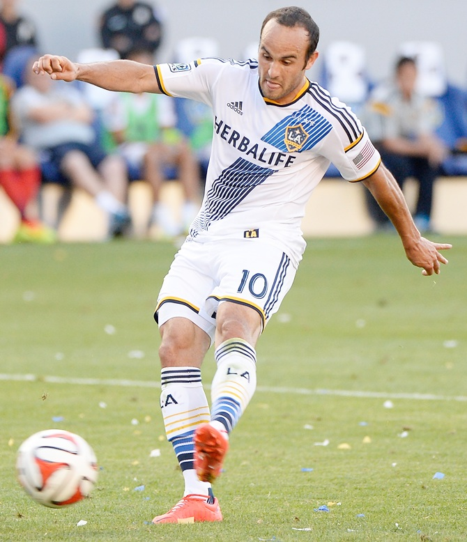 Landon Donovan of Los Angeles Galaxy scores his 136th goal of his regular season MLS career