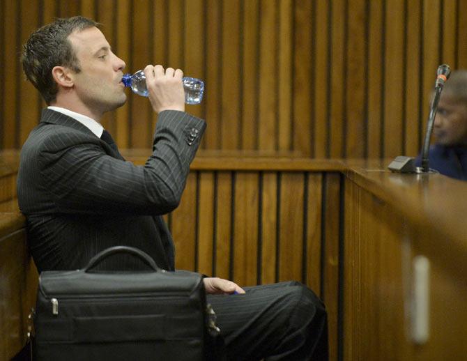 Oscar Pistorius in the Pretoria High Court during the murder trial of his slain girlfriend Reeva Steenkamp on Friday