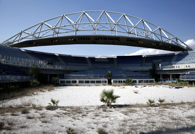 The abandoned stadium which hosted the beach volleyball competition during the Athens 2004 Olympic Games in Athens
