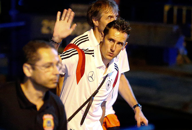 Germany's national team player Miroslav Klose waves to fans