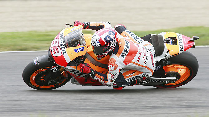 Honda MotoGP rider Marc Marquez of Spain rides through a turn on his way to winning the Indianapolis GP on Sunday