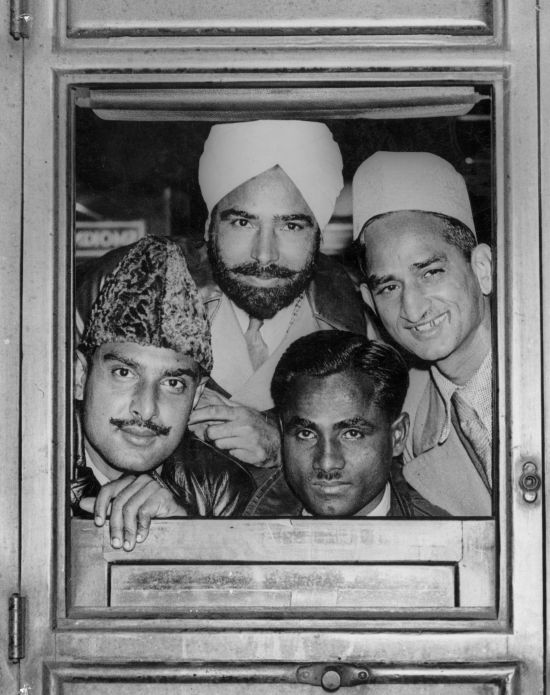 Four members of the Indian hockey team, including the late Dhyan Chand (bottom right), that won the Olympic gold medal at Berlin
