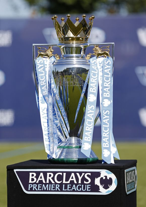 The Premier League trophy during the official Premier League season launch