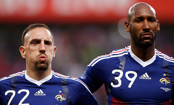 Franck Ribery (l) and Nicolas Anelka (r) of France