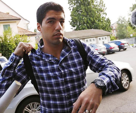 Uruguayan striker Luis Suarez arrives for a hearing at the Court of Arbitration for Sport (CAS) in Lausanne on Friday, August 8