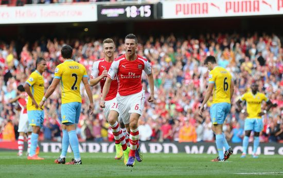 Laurent Koscielny f Arsenal celebrates his goal during the Barclays Premier League match between Arsenal and Crystal Palace