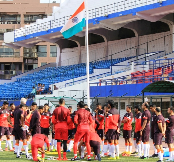 Team India during the flag hoisting