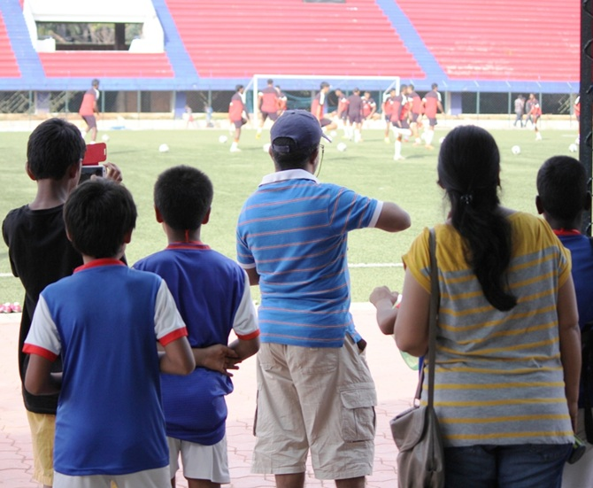 Fans at the stadium in Bangalore