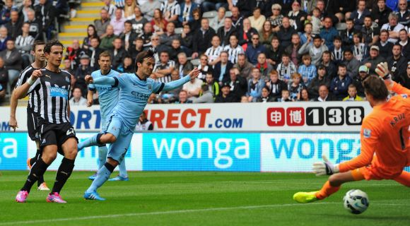David Silva of Man City scores the opening goal during the Barclays Premier League match between Newcastle United and Manchester City