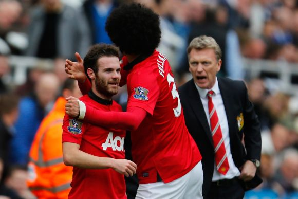 David Moyes, Juan Mata and Marouane Fellaini