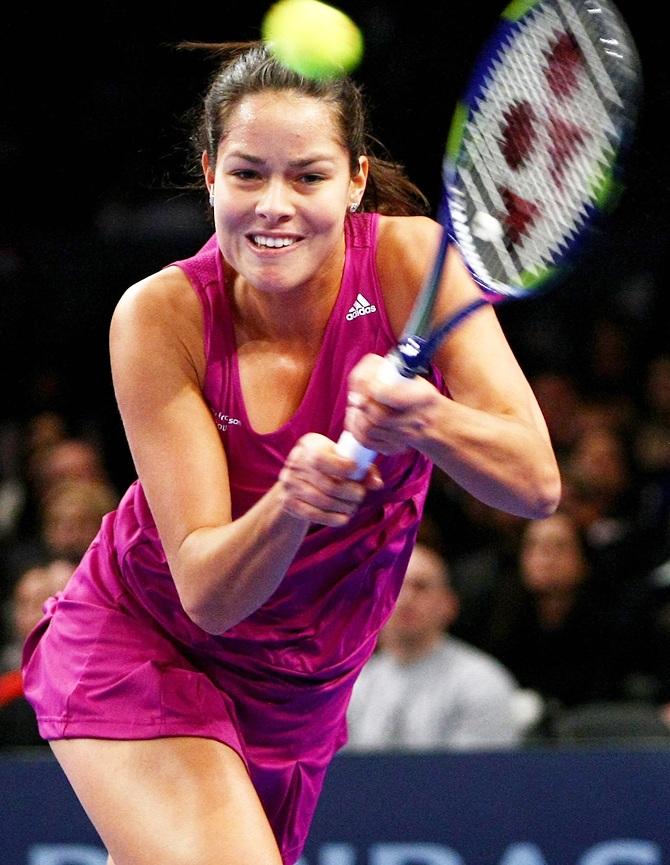 Ana Ivanovic of Serbia plays a backhand