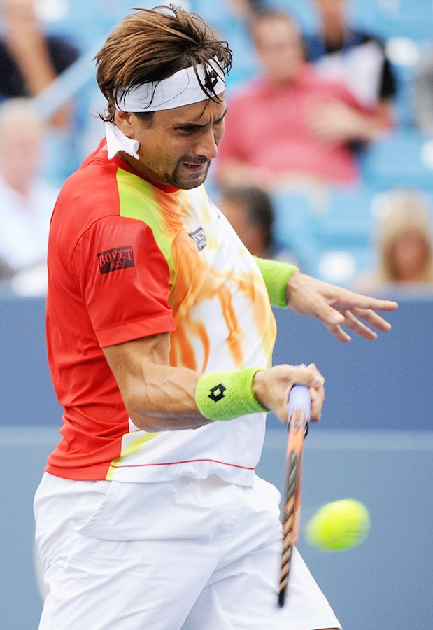 David Ferrer of Spain returns
