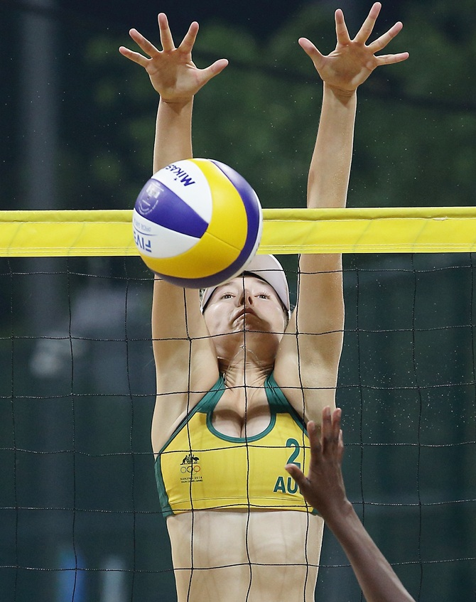 Brittany Kendall of Australia in action during the Nanjing 2014 Youth Olympic Beach Volleyball at the Olympic Sports Park in Nanjing