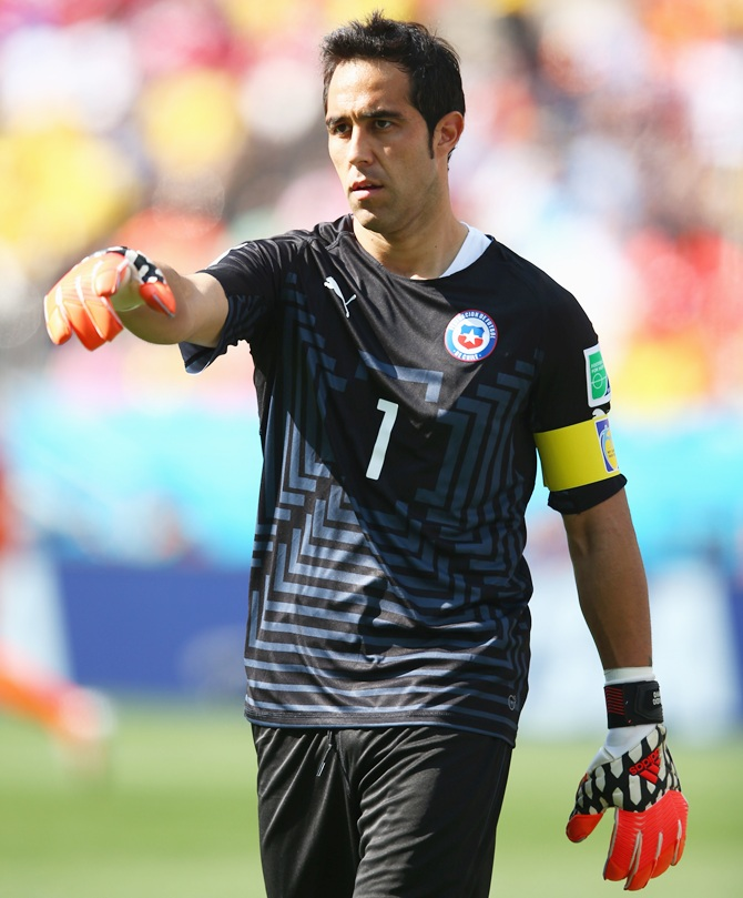 Goalkeeper Claudio Bravo of Chile gestures