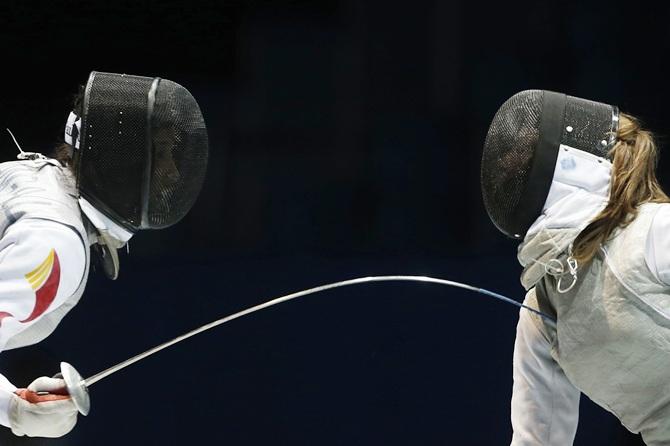 Fencers spar