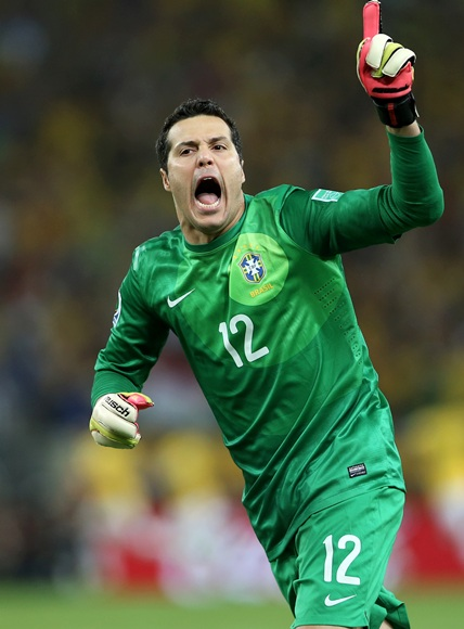 Julio Cesar of Brazil celebrates