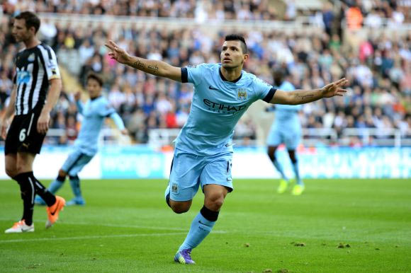Sergio Aguero of Manchester City celebrates after scoring his team's second goal during the Barclays Premier League match between Newcastle United and Manchester City