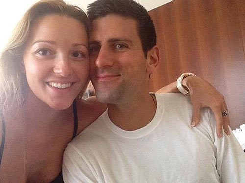 Novak Djokovic with his wife Jelena Ristic