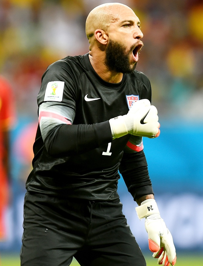Tim Howard of the United States reacts