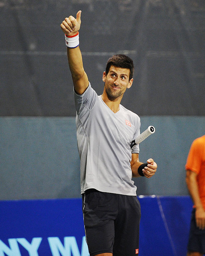 Novak Djokovic attends the Johnny Mac Tennis Project Benefit at Sportime at Randall's Island Tennis Center in New York City on Thursday