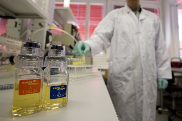 Urine samples are pictured at the Swiss Laboratory for Doping Analysis