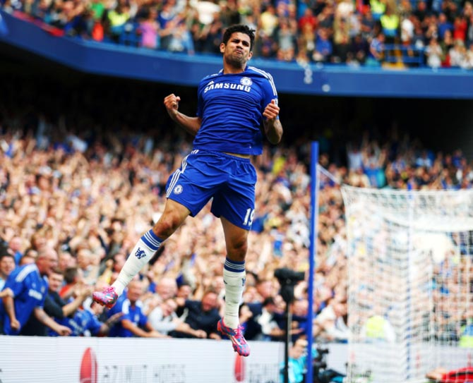 Diego Costa celebrates scoring Chelsea's first goal
