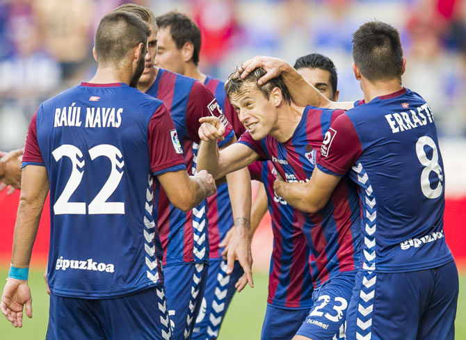 Javier Lara of SD Eibar celebrates after scoring against Real Sociedad during their La Liga match at Ipurua Municipal Stadium in Eibar on Sunday